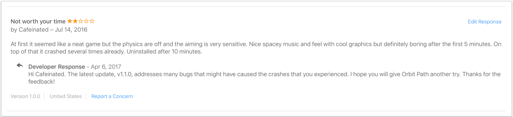 example of responding to app store reviews