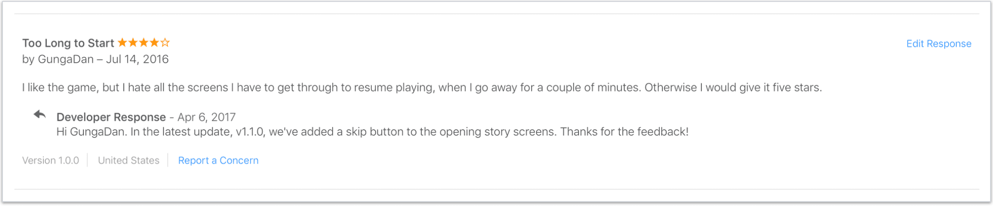 example of answering the question from a negative app store review