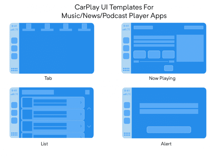 CarPlay UI Templates for Audio Player Apps